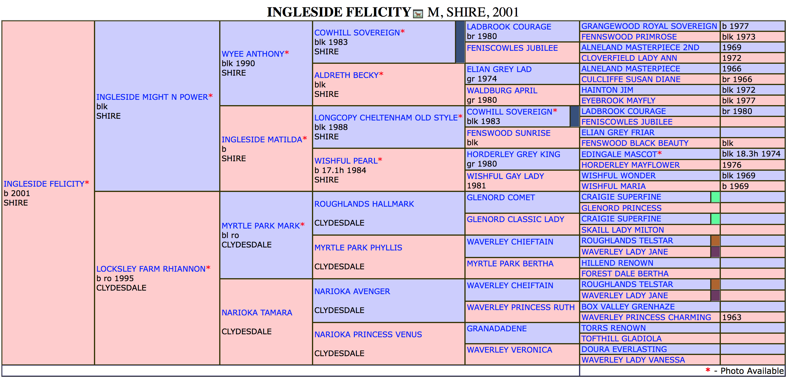 Ingleside Felicity Pedigree